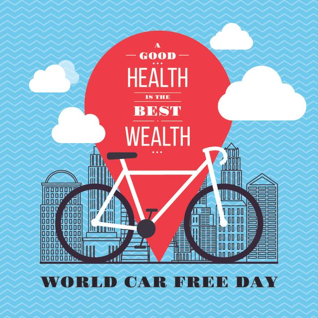 World car free day with bicycle Instagram Design Template
