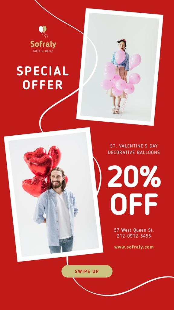 Valentine's Day Balloons Sale in Red — Crear un diseño