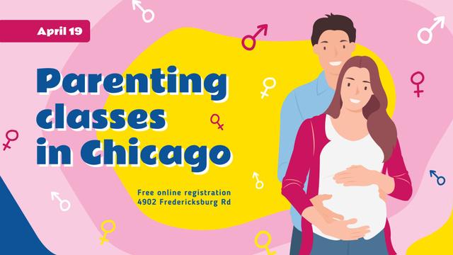Plantilla de diseño de Parenting Classes Pregnant Woman and Husband FB event cover