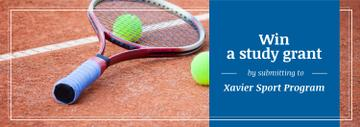 Sport Program Grant Offer Tennis Racket on Court | Tumblr Banner Template