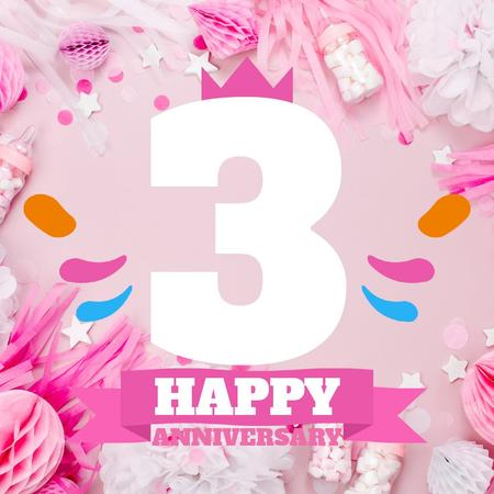 Plantilla de diseño de Anniversary celebration with Cute Pink Decorations Animated Post