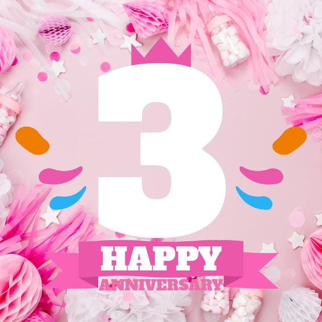 Template di design Anniversary celebration with Cute Pink Decorations Animated Post
