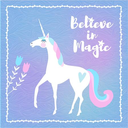 Funny Unicorn with Inspiration quote Instagram AD Modelo de Design