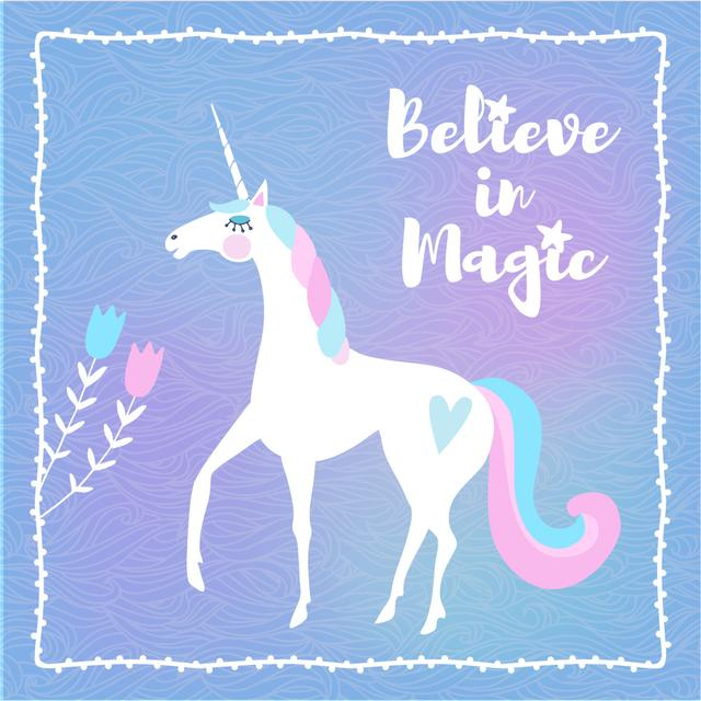 Funny Unicorn with Inspiration quote Instagram ADデザインテンプレート