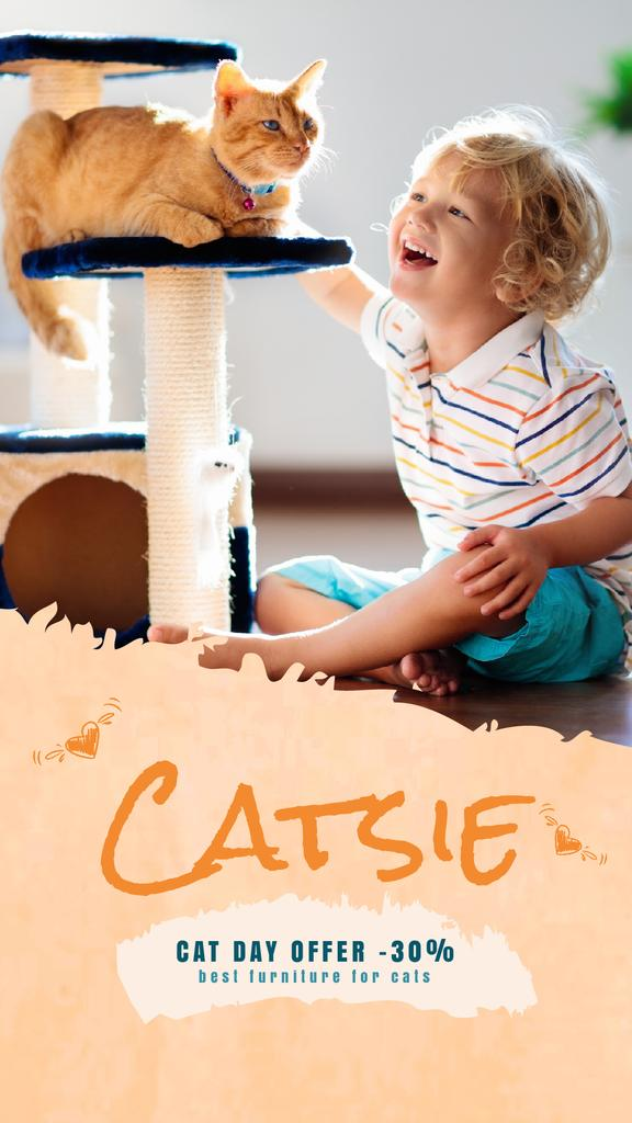 Cat Day Offer Child Playing with Red Cat | Vertical Video Template — ein Design erstellen