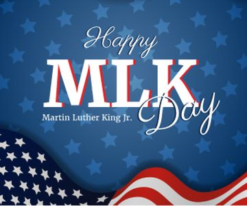 Martin Luther King Day Greeting with Flag | Large Rectangle Template