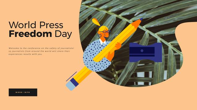 Woman sharpening giant pencil Full HD video Design Template