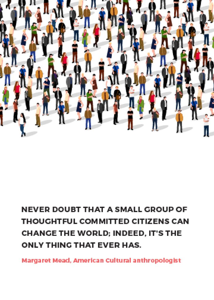 Changes inspirational quote with crowd of people — Crea un design