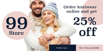Online knitwear store Offer with Smiling Couple
