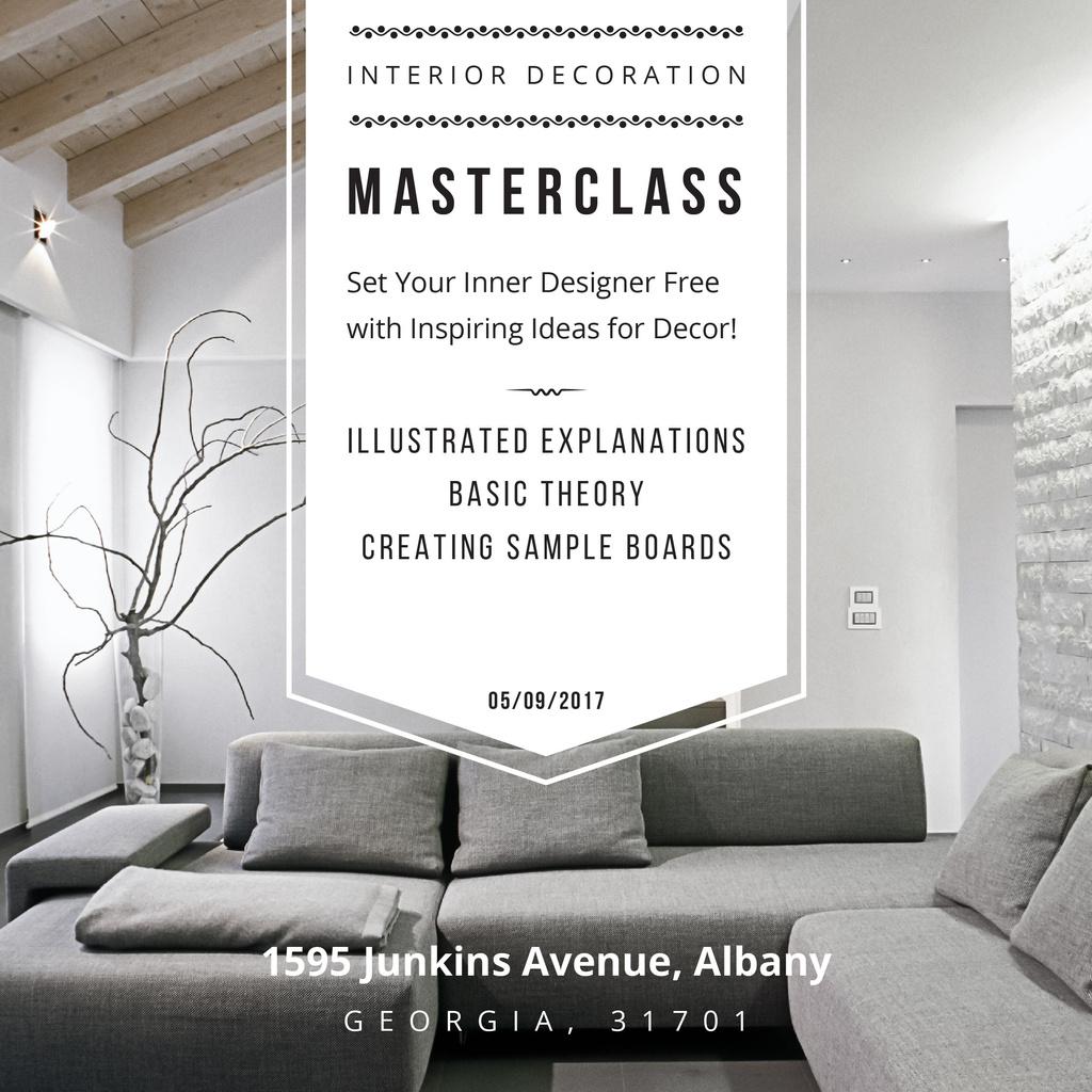 Plantilla de diseño de Interior decoration masterclass with Sofa in grey Instagram AD