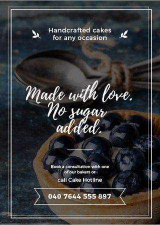Bakery Ad with Blueberry Tart Flayer – шаблон для дизайна