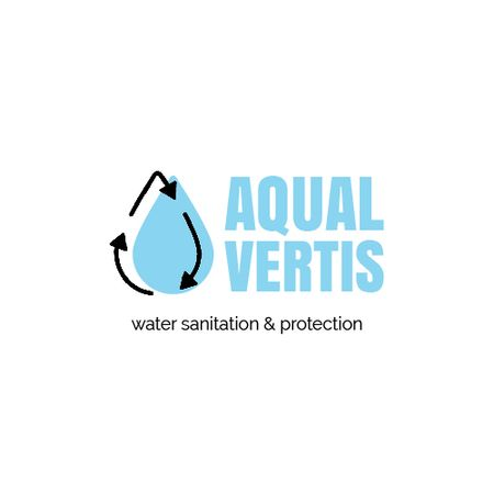 Plantilla de diseño de Water Services Ad with Drop in Blue Animated Logo