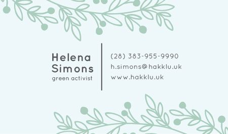 Green Activist Contacts Information Business card Modelo de Design