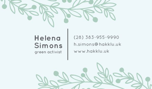 Plantilla de diseño de Green Activist Contacts Information Business card