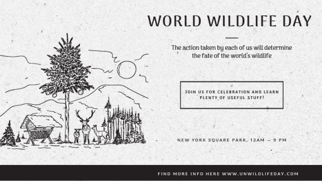 World Wildlife Day Event Announcement Nature Drawing — Создать дизайн