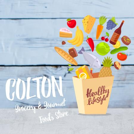 Healthy lifestyle Concept with Groceries in Shopping Bag Animated Post Design Template