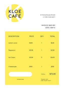 Cafe Invoice on Yellow