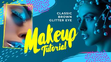 Tutorial Inspiration Woman with Creative Makeup in Blue