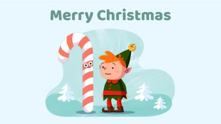 Template di design Christmas elf with candy cane Full HD video