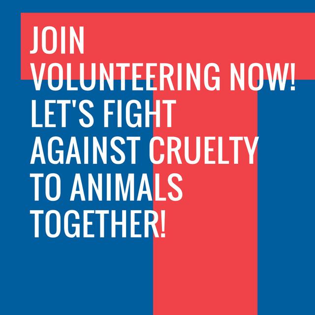 Ontwerpsjabloon van Instagram AD van Volunteering Quote on blue and red