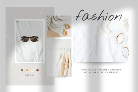 Template di design Summer Clothes and Accessories in natural colors Mood Board