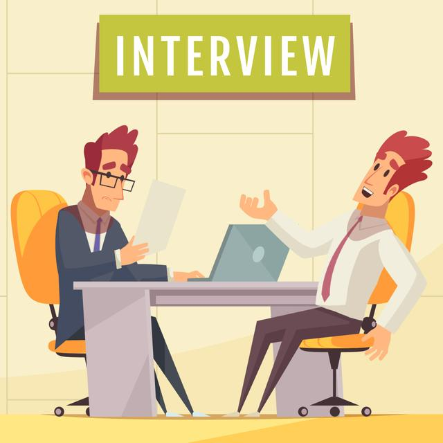 Man at job Interview Animated Post Modelo de Design