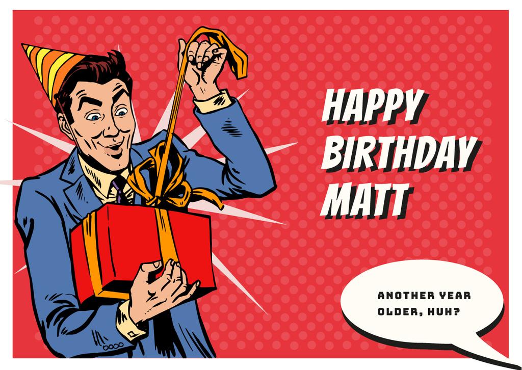 Man celebrating birthday — Crear un diseño