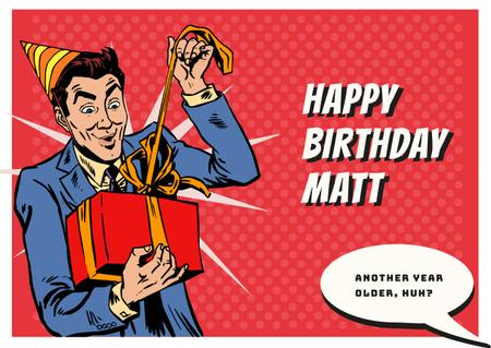 Plantilla de diseño de Man celebrating birthday Card