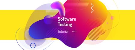 Software testing with Colorful lines and blots Facebook cover Modelo de Design