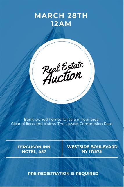 Designvorlage Real estate auction in blue für Pinterest