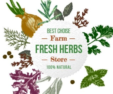 Fresh herbs sale advertisement Medium Rectangle – шаблон для дизайну