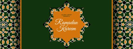 Modèle de visuel Ramadan Kareem greeting in green - Facebook Video cover