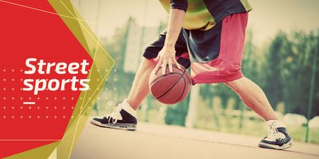 Ontwerpsjabloon van Twitter van Street sports with basketball player