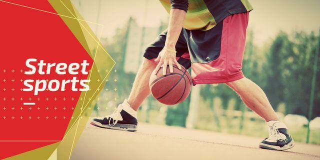 Ontwerpsjabloon van Twitter van Street sports with basketball player