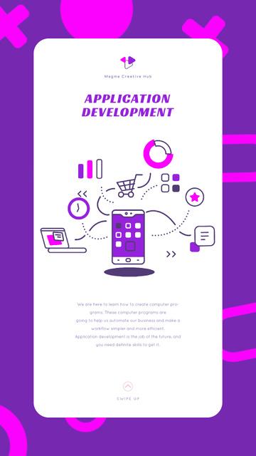 Plantilla de diseño de Smartphone with Application Icons Instagram Video Story