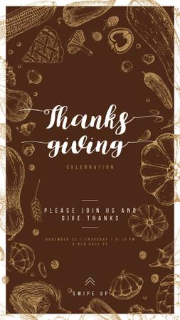 Plantilla de diseño de Thanksgiving feast with Traditional food illustration Instagram Story