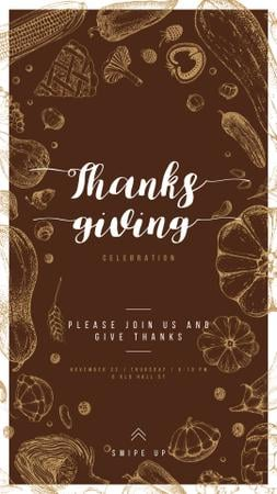 Ontwerpsjabloon van Instagram Story van Thanksgiving feast with Traditional food illustration