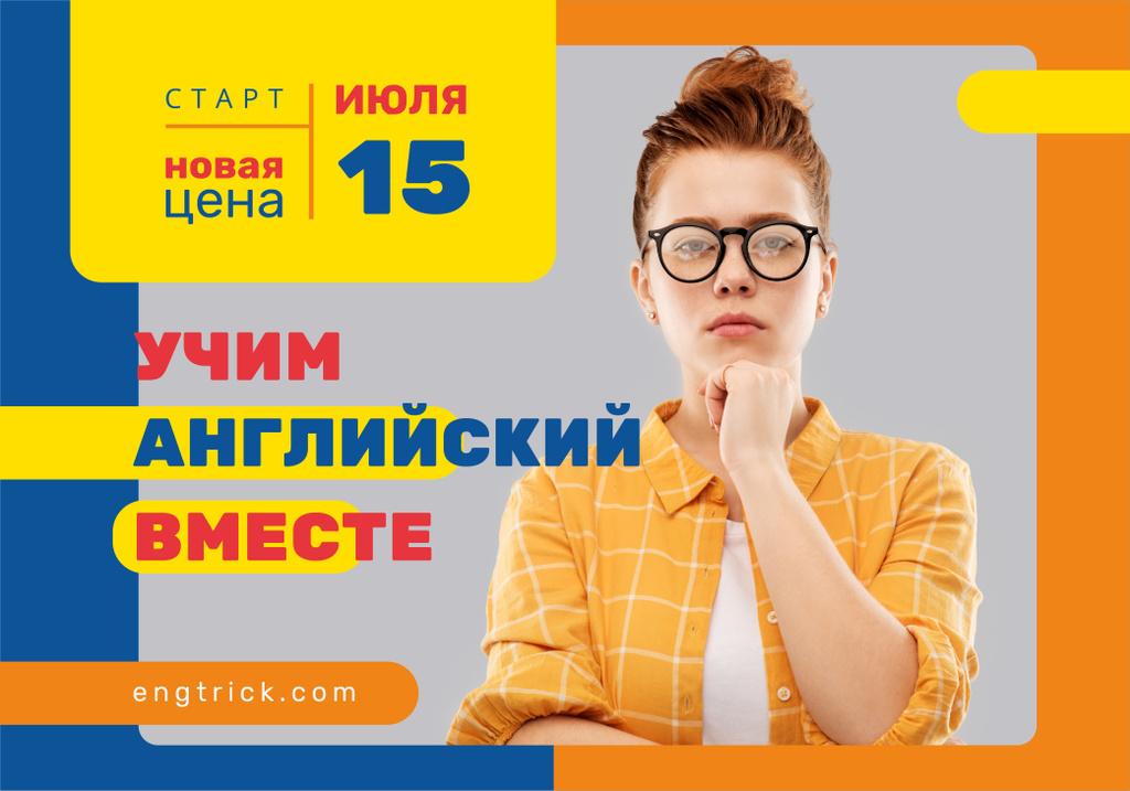 Modèle de visuel Education Event with Confident Woman Wearing Glasses - VK Universal Post