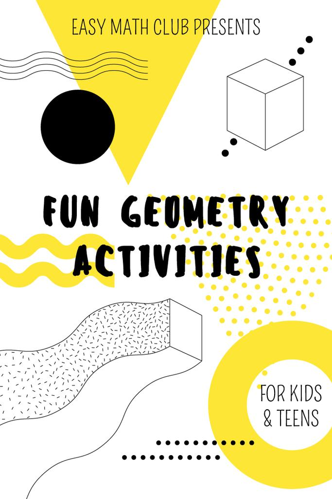 Math Club Invitation with Simple Geometry Figures in Yellow — Create a Design