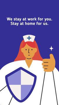 #Stayhome Coronavirus awareness with Supporting Doctor