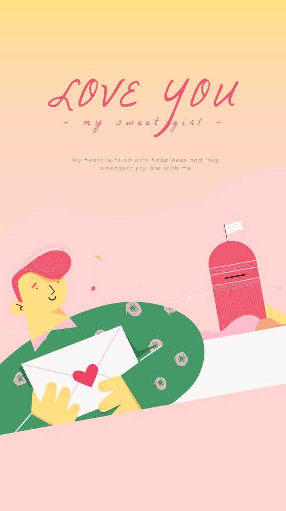 Happy Man sending Valentine's Day Letter — Créer un visuel