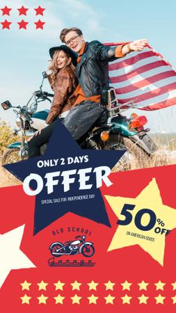 Ontwerpsjabloon van Instagram Story van Independence Day Sale Ad with Bikers Couple