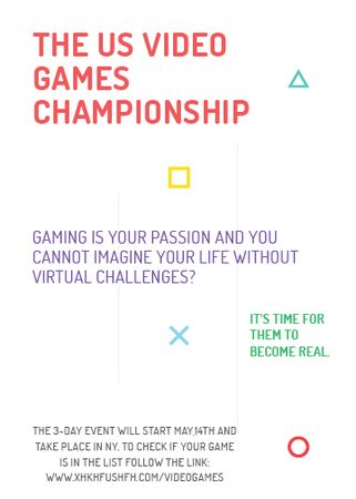Plantilla de diseño de Video Games Championship announcement Invitation