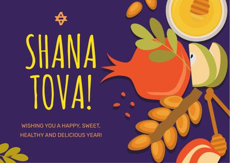 Plantilla de diseño de Rosh Hashanah Greeting Apples with Honey Card