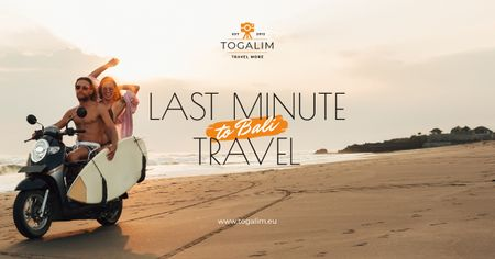 Last Minute Travel Offer Couple with Board on Scooter Facebook AD Modelo de Design