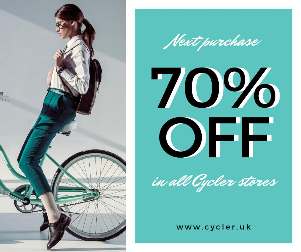 Bicycles sale with Girl on bike — Crea un design