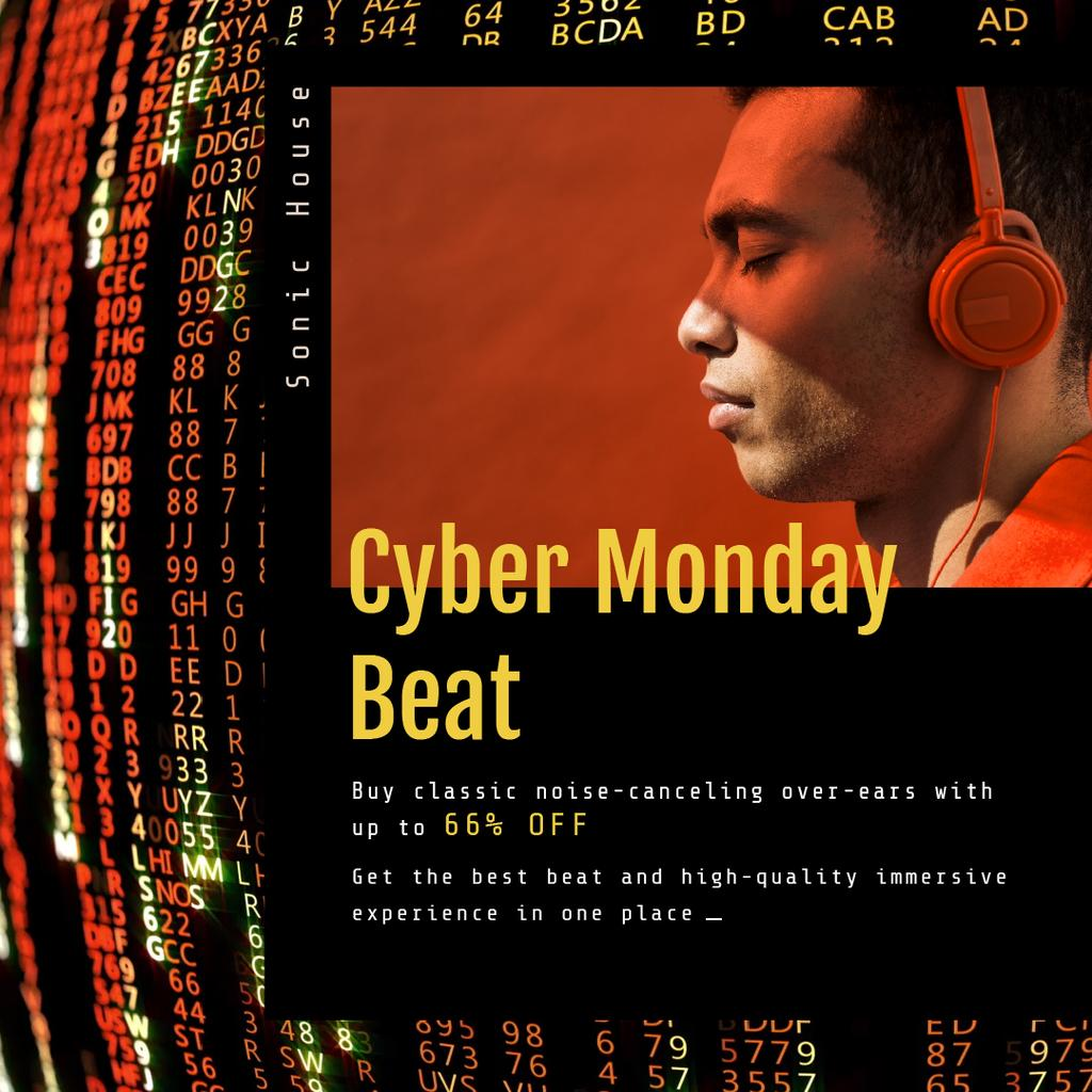 Cyber Monday Sale Man in Headphones — Створити дизайн
