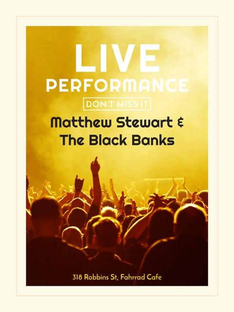 Live Performance announcement Crowd at Concert Poster US Modelo de Design