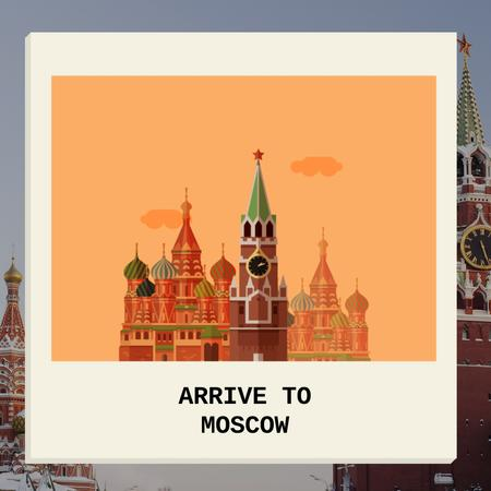Moscow Famous Travel Spot Animated Post Modelo de Design