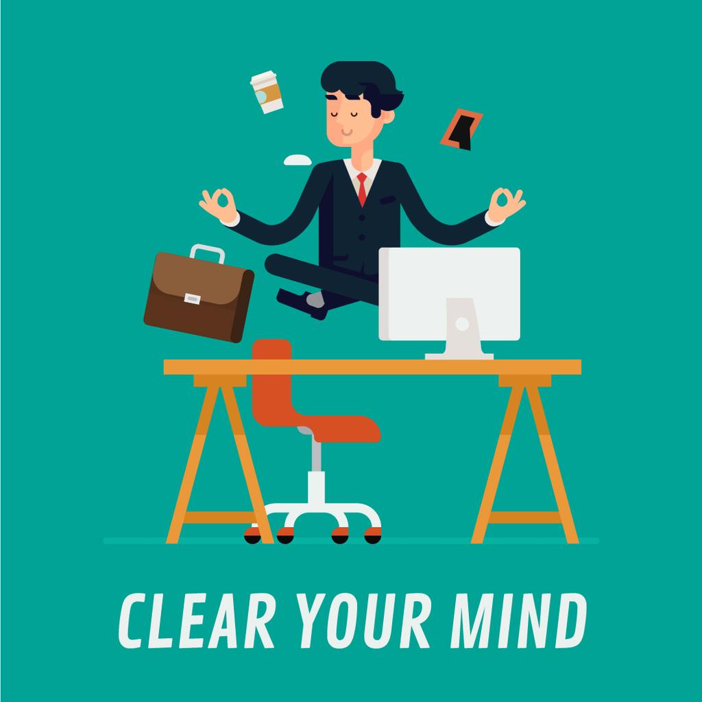 Businessman Meditating at Work — Crear un diseño
